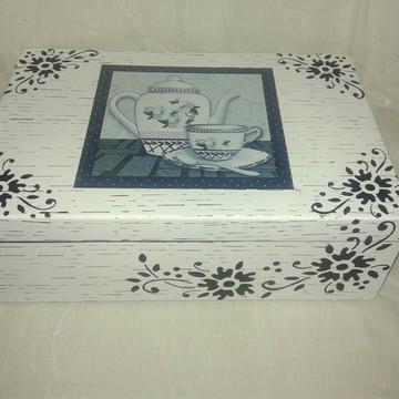 Caixa de Chá preto e branco c/ 6 div.
