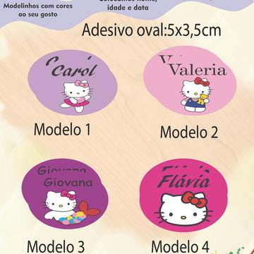 Adesivo Oval-Hello kitty