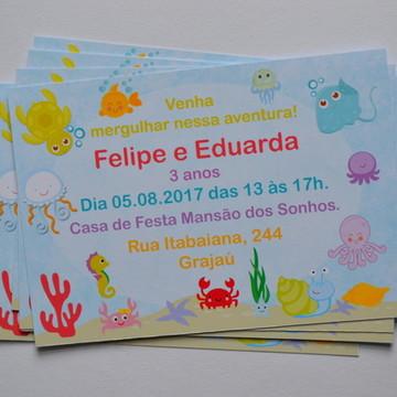 Convite Fundo do mar | SEM ENVELOPE