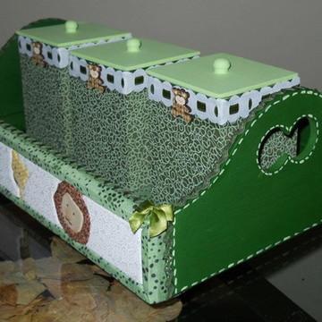 kit higiene menino verde