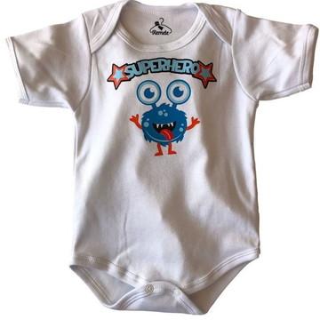 Body de bebê branco monstrinho superhero