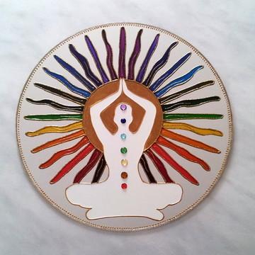 Mandala 7 Chakras espelho 40cm de parede