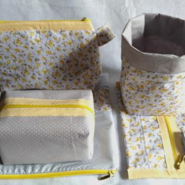 Kit maternidade 5 peças amarelo cinza