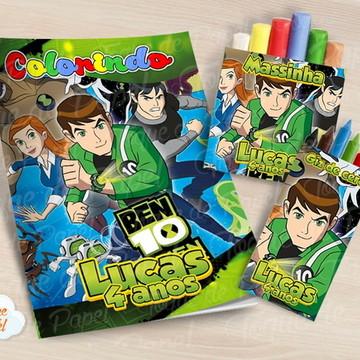 Kit colorir giz massinha Ben 10