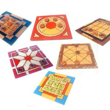 Jogos de tabuleiro em madeira Kit com 6