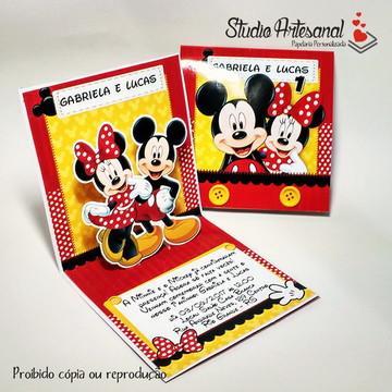 Convite Mini Pop Up - Mickey e Minnie