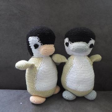 Casal de pinguins em crochê - amigurumi