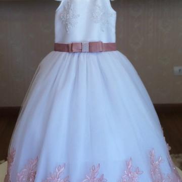 Vestido Daminha Tule Francês Rosa