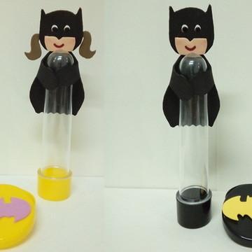 Tubete + latinha Batman/ Batgirl de eva
