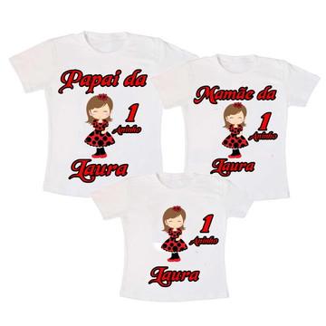 Camisetas Joaninha Aniversario kit