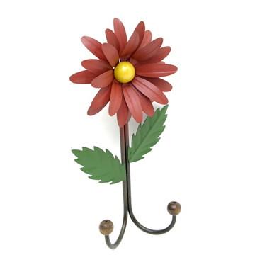 Cabide de Ferro Artesanal Rústico 2 G Flor Decorativo