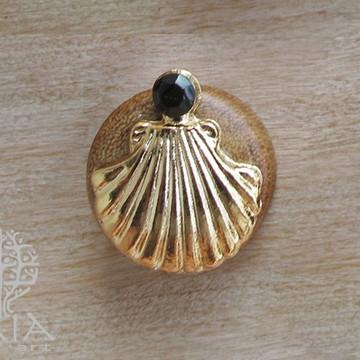 Alargador Madeira Concha Dourada