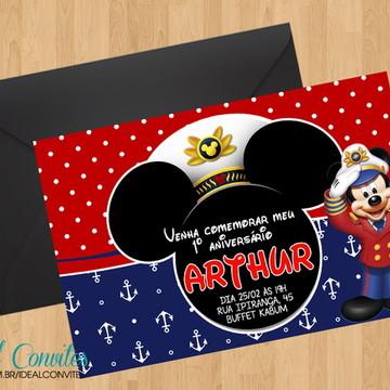 Convite - Tema Mickey Marinheiro