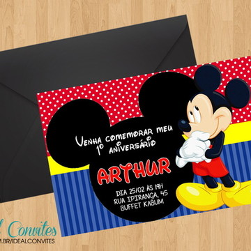 Convite - Tema Mickey 7x10cm