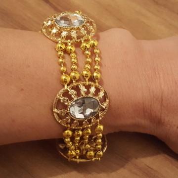 Bracelete Dourado com Cabochão