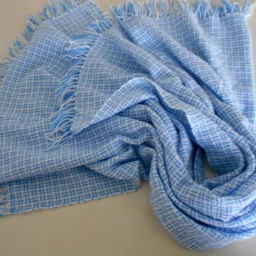 Manta de Lã para Bebê Azul e Branco