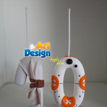 Vela biscuit Star Wars - Rey e BB8