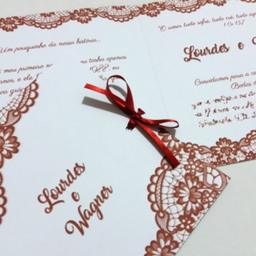 Convite Mariana - Renda Impressa - Bodas