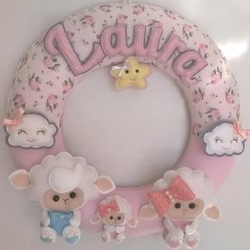 Guirlanda decoração para bebê ovelhas
