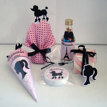 """Min Kit Festa """"Barbie Paris"""" 50 produtos"""
