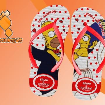 Chinelo Casamento Personalizado Simpsons