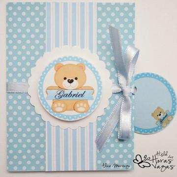 Ursinho poá azul e branco