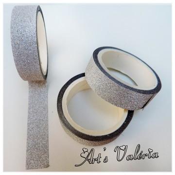 Fita Glitter Adesiva Decorativa Prata