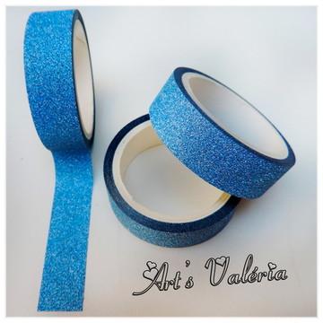 Fita Glitter Adesiva Decorativa Azul