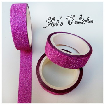 Fita Glitter Adesiva Decorativa Pink