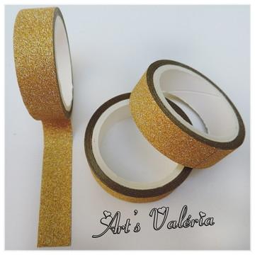 Fita Glitter Adesiva Decorativa Dourada