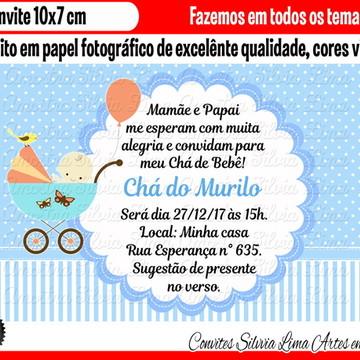 Convite Chá de bebê menino carrinho