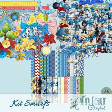 Kit Scrapbook Digital Smurfs
