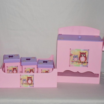 Kit Higiene de Bebê Corujas- Menina