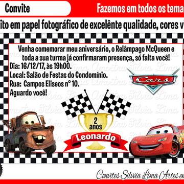 Convite carros disney