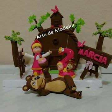 Topo de bolo menina e urso em biscuit
