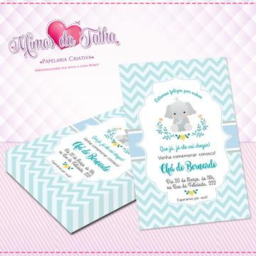 Convite Chá de Bebê Elefantinho - DIGITAL