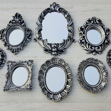 Kit 8 Espelhos Prata Envelhecida