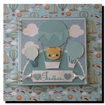 caderno maternidade menino baloes urso azul nuvens cinza