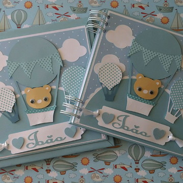 Livro do bebê com Caderno para chá de bebê ursinho e balão