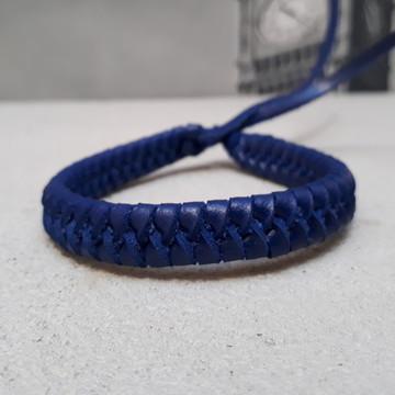 Pulseira de Couro Trançado Azul