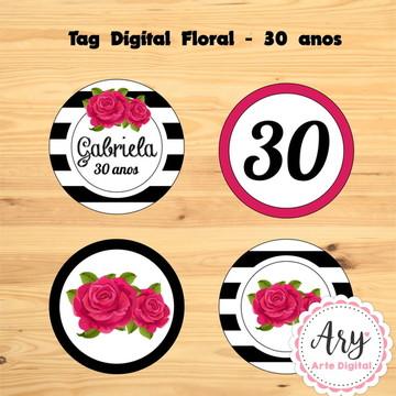 Tag digital floral - 30 anos