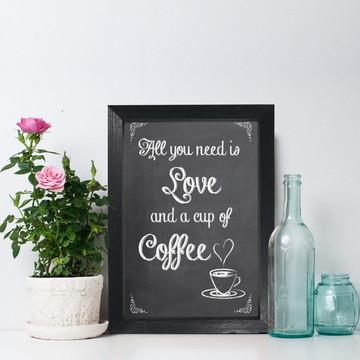 Quadro para Cozinha Café Frase Amor Moldura Preta 22x32 cm