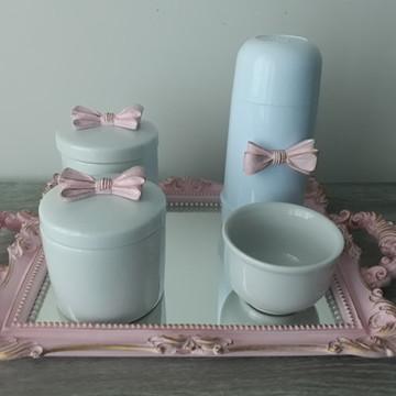 Kit Higiene com Potes Porcelana Laço