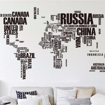 Adesivo Mapa Mundi Letras