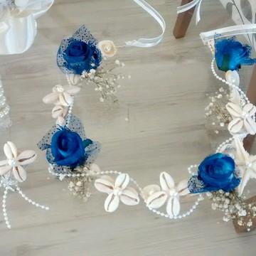 tiara de conchinhas do mar & estrela