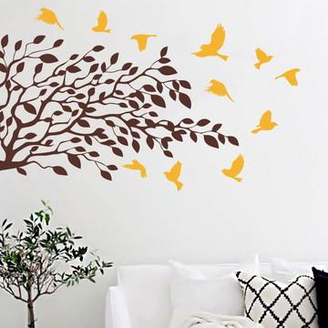 Adesivo Árvore com Pássaros Colorido