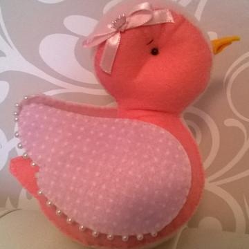 Peso de porta passarinho rosa em feltro 15 cm