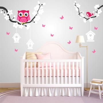 Adesivo para quarto de bebê corujinha