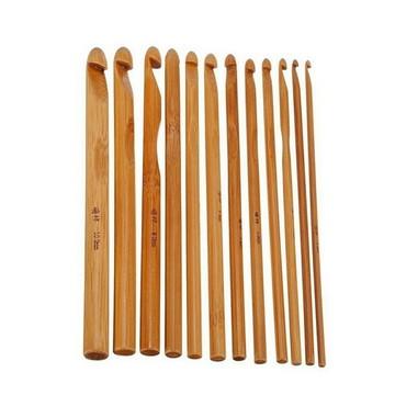 Kit Com 12 Agulhas Para Crochê Em Bambu frete Grátis