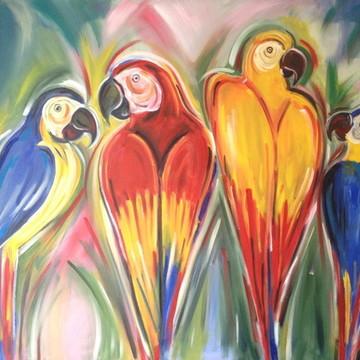 Quadro Araras Coloridas - pintura